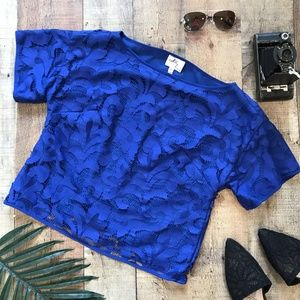 Milly NY Blue Lace Top Lined Size 2 EUC